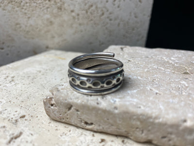 Heavy Karen hill tribe 95% pure silver ring formed as a spiral