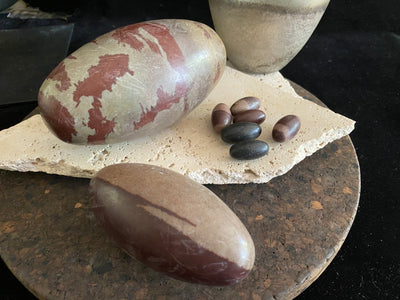 Shiva lingam stones, natural jasper stone, from India.