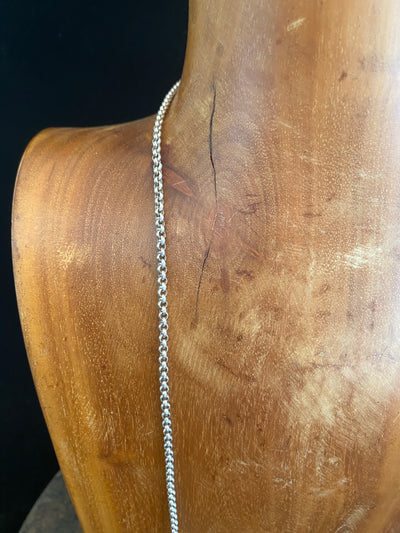 Very long sterling silver Belcher chain with round links. Ring clasp.  Measurements: length 96.5 cm/38""
