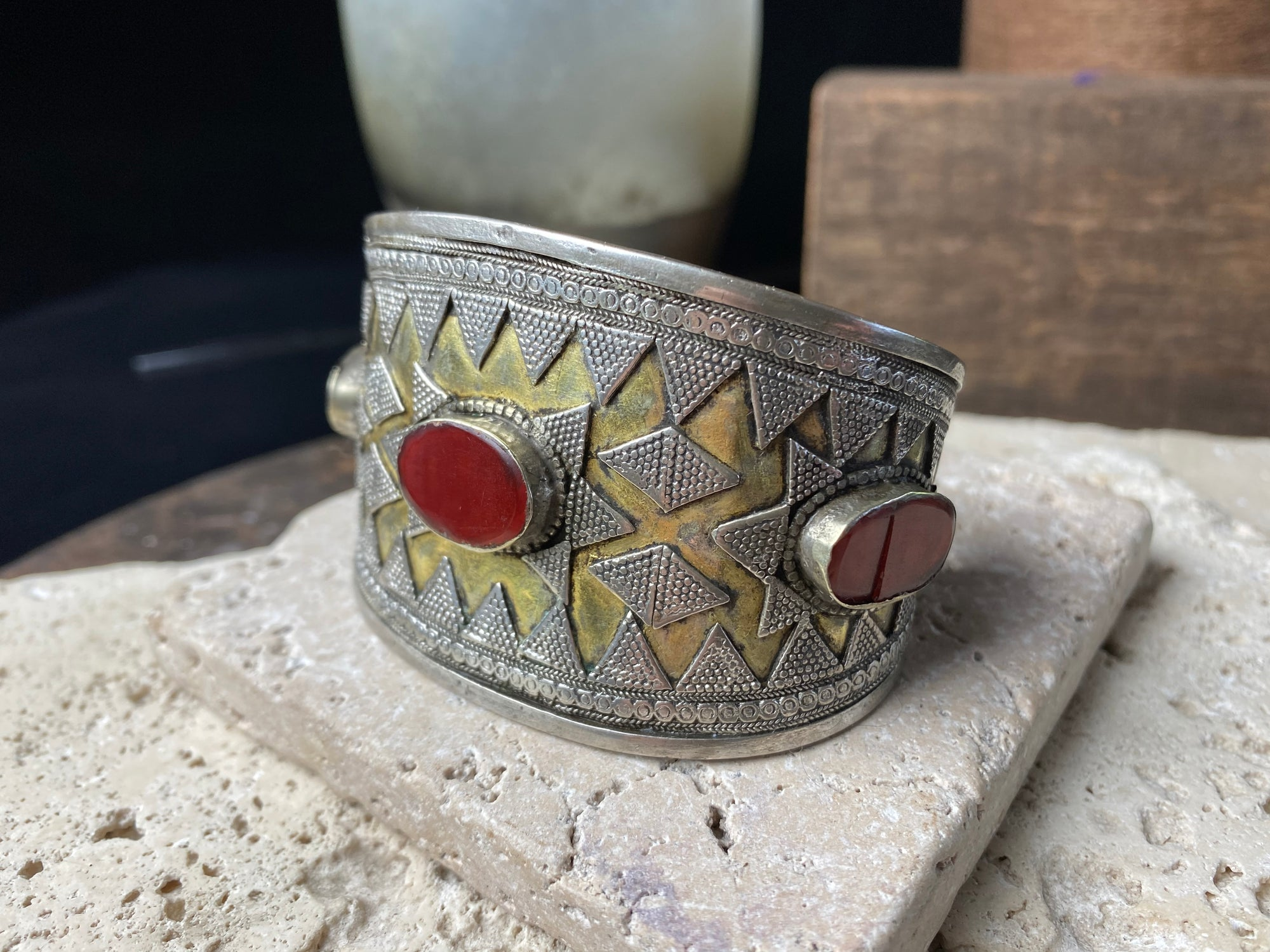 Unusual Tekke Turkoman cuff.  High grade silver, 24k gold fire gilding, carnelian stones. Early 19th Century.