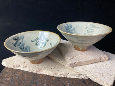Chinese tea bowls are hand made, hand glazed and hand painted in the style of Ming Dynasty pottery