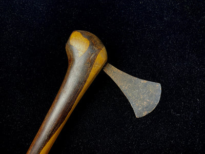 hatchet style of hand axe from the Congo, Africa. Ebony wood handle selected and shaped to resemble the profile head of a bird. Iron blade. Mid 20th century or earlier