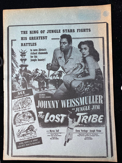 "Original Johnny Weissmuller movie poster from the 1949  movie ""The Lost Tribe"""