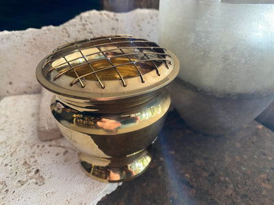 Large brass incense and resin burner with reversible brass mesh top