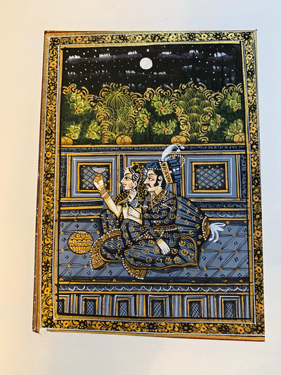 original painting in the Mogul style, depicting a classic love scene