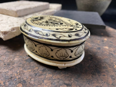 Trinket boxes, hand made from wood overlaid with polished panels of exquisitely painted camel bone
