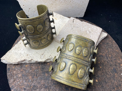 Pair of Naga tribal heavy bronze patterned open cuffs