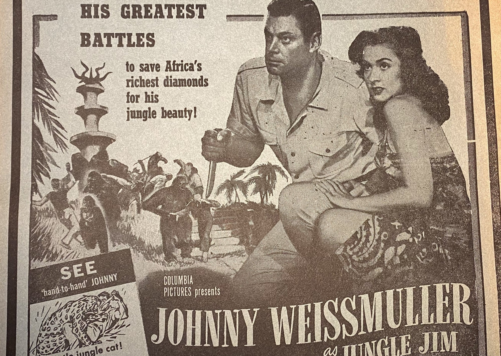 "original Johnny Weissmuller movie poster on paper from the 1949  movie ""The Lost Tribe"