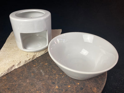 Large white ceramic oil burner