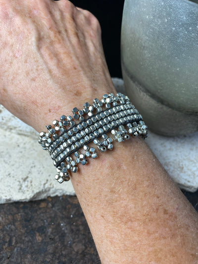 Silver look fashion tribal bracelet on stretchy elastic