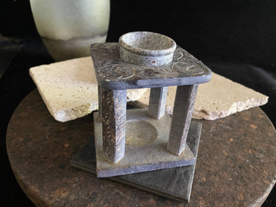 Oil burner hand carved from soap stone with a removable bowl