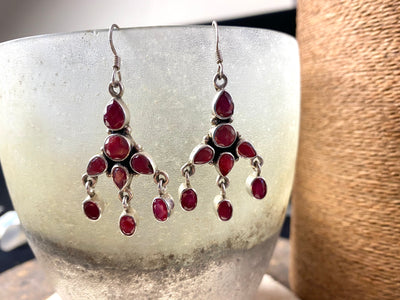 Classic Indian ruby drop earrings with 8 facet cut natural rubies set in sterling silver