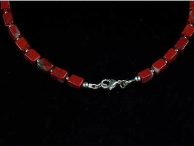 Red Jasper and Turquoise Necklace with silver detailing and clasp