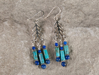 Elegant silver & sone drop earrings combining natural Arizona turquoise and Afghan lapis lazuli