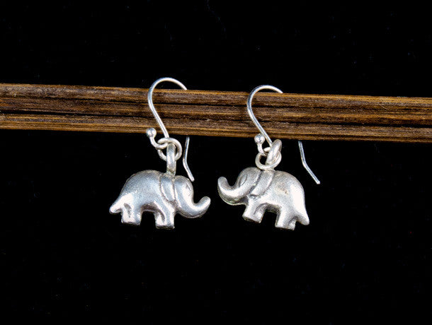Small Silver Elephant Drop Earrings