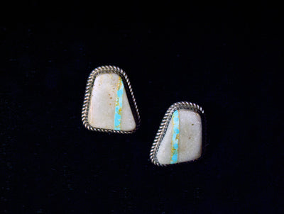 Navajo Square Cut Turquoise Boulder Stud Earrings