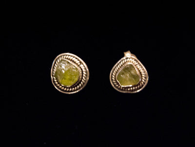 Peridot and Silver Boulder Stud Earrings
