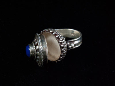 Silver and Lapis Lazuli Poison Ring