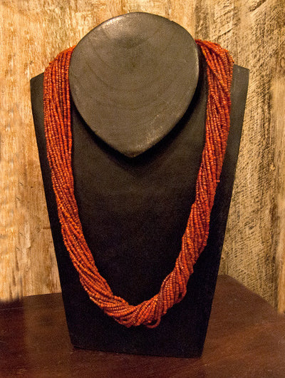 Red orange Multi Strand Tribal Bead Necklace sterling silver ends