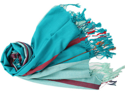 Italian Style Silk and Cashmere Scarf Blue