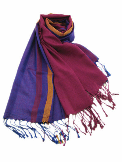 Italian Style Silk and Cashmere Scarf Purple