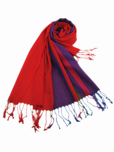 Italian Style Silk and Cashmere Scarf Red