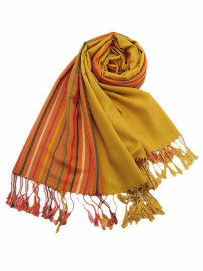Italian Style Silk and Cashmere Scarf Yellow