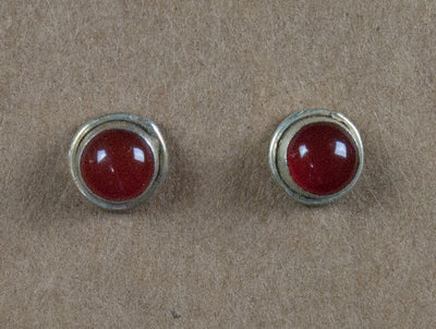 Earring stone studs handmade from sterling silver and carnelian