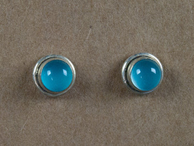Earring stone studs handmade from sterling silver and blue chalcedony