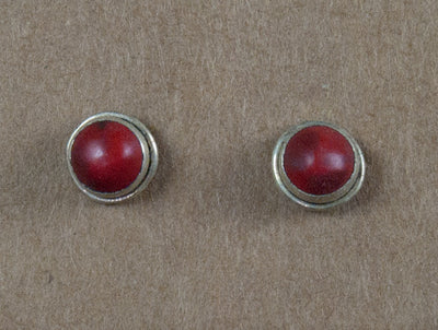 Earring stone studs handmade from sterling silver and coral