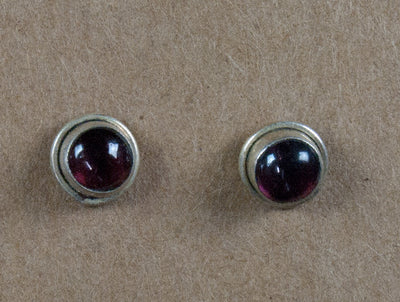 Earring stone studs handmade from sterling silver and garnet