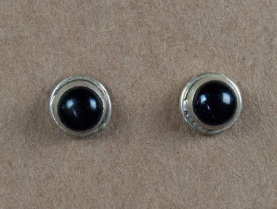 Earring stone studs handmade from sterling silver and onyx