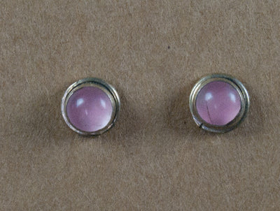 Earring stone studs handmade from sterling silver and rose quartz