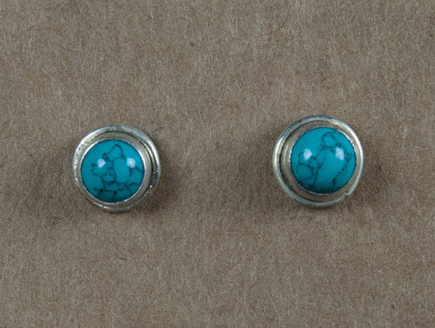 earring studs - sterling silver and stone studs - silver studs - womens earrings - mens earrings