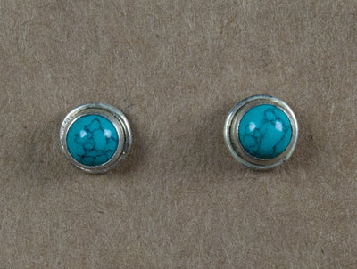 Earring stone studs handmade from sterling silver and turquoise