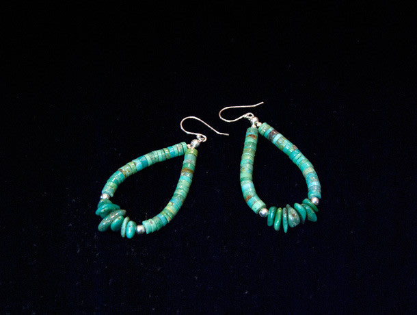 Turquoise and silver beaded earrings