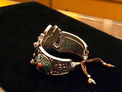 Tibetan Silver, Coral and Turquoise Bracelet