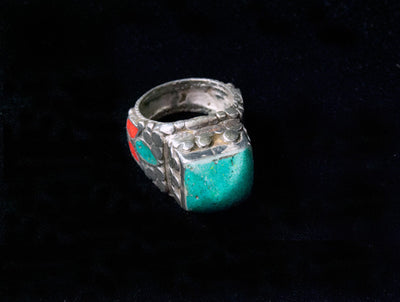 Turkoman Turquoise, Coral and Silver Tribal Ring
