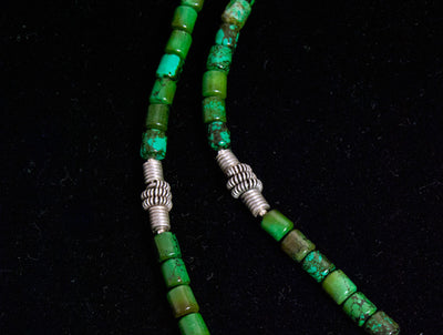 Green turquoise and antique silver amulet necklace