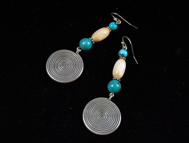 Turquoise and Silver Spiral Tribal Earrings