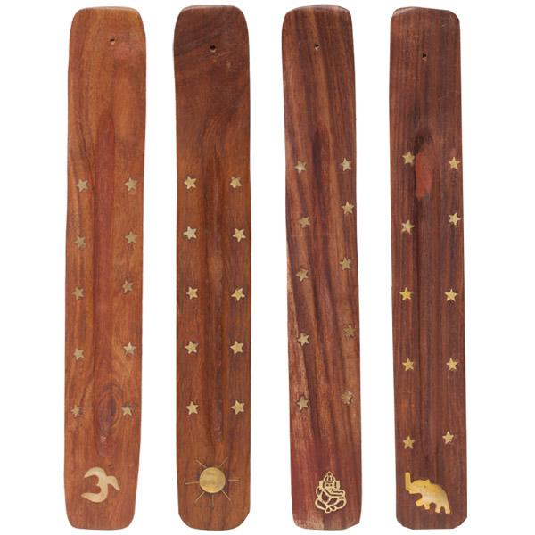 Wooden incense ash catcher for all your standard incense sticks. With various brass inlay decorations