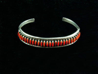 Zuni Coral and Silver Needlepoint Bracelet