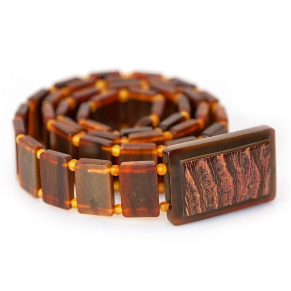 Carabao Brown Polished Belt with Natural Buckle