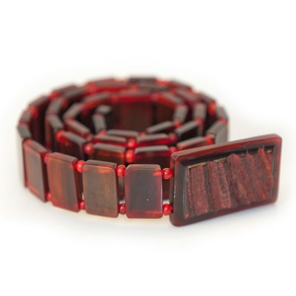Carabao Red Polished Belt with Natural Buckle