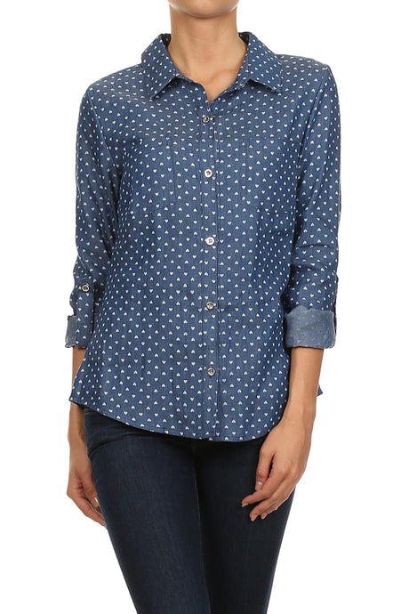 heart printed button down