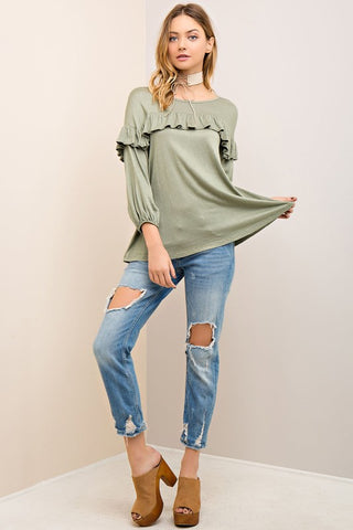 Ruffle Scoop Neck Top
