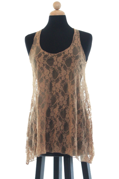 Cory Lace Tank in Gold