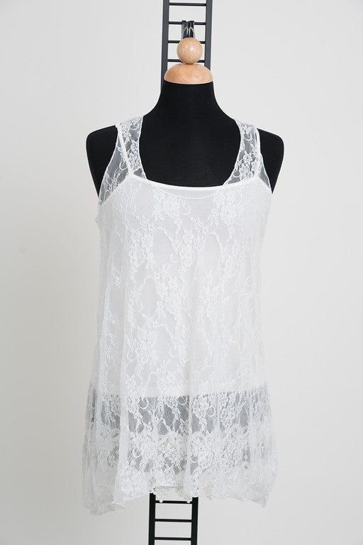 Cory Lace Tank in White