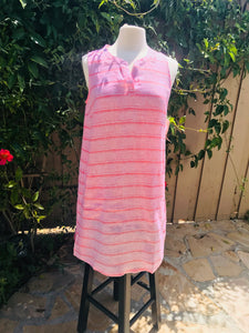 Sleeveless Pink Linen Sheath Dress