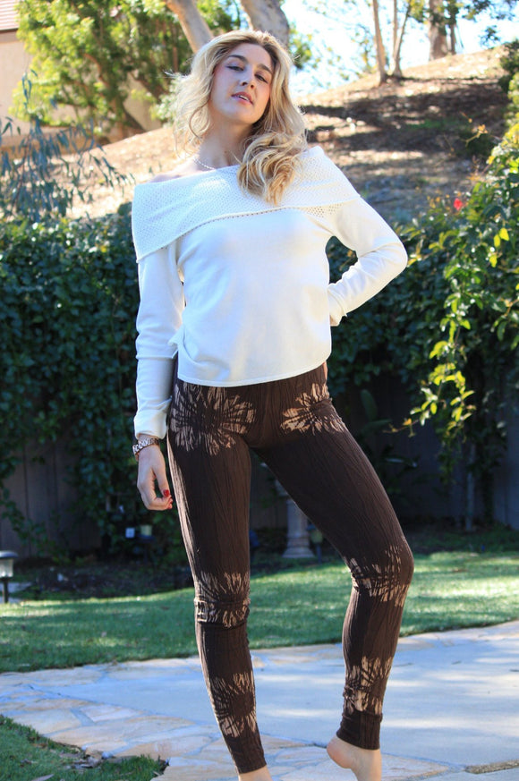 Floral Print Textured Leggings